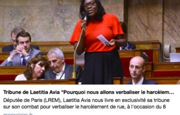Tribune de Laetitia Avia sur la lutte contre le harcèlement de rue – Marie Claire – 07/03/18