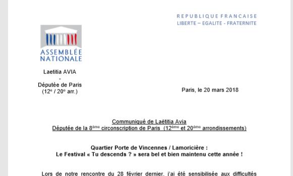 Le Festival « Tu descends ? » sera bel et bien maintenu cette année !