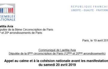 Appel au calme et à la cohésion nationale avant les manifestations du samedi 20 avril 2019