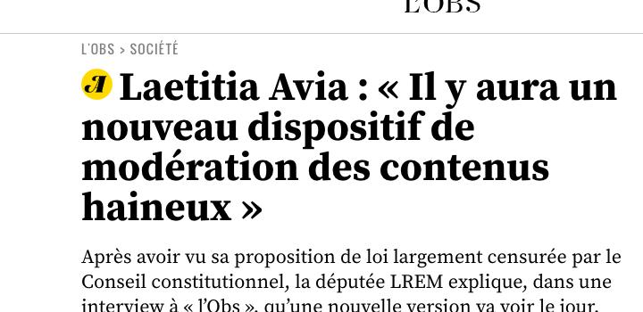 Laetitia Avia : « Il y aura un nouveau dispositif de modération des contenus haineux »
