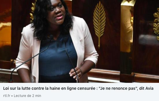 """Loi sur la lutte contre la haine en ligne censurée : """"Je ne renonce pas"""", dit Avia sur RTL"""