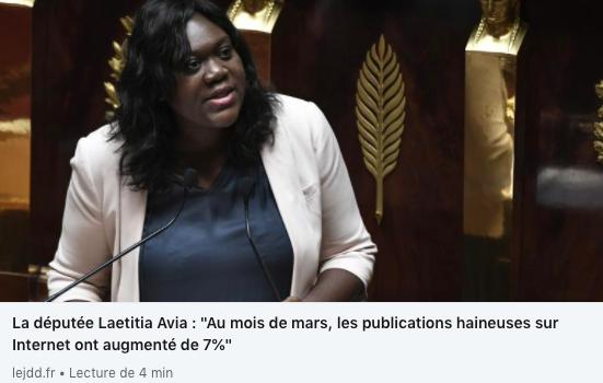"""Laetitia Avia : """"Dès le début du confinement, on a vu une augmentation des contenus haineux sur Internet"""""""
